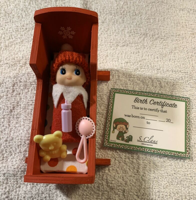 CHRISTMAS BABY ELF W/CRIB & BIRTH CERT & ACCESSORIES FOR ON THE SHELF SO CUTE !!