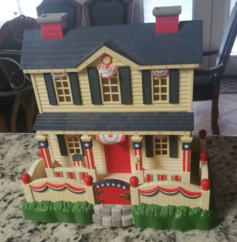 Patriotic Village Lighted Campaign 4th Of July Voters House VHTF RARE