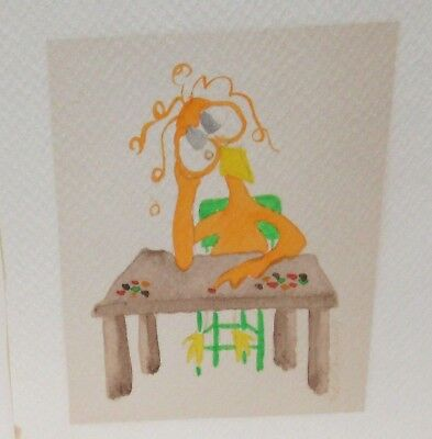 ORANGE BIRD COUNTING JELLY BEANS AT A DECK CARTOON WATERCOLOR PAINTING UNSIGNED ()