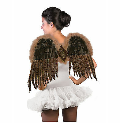 """Feathered Brown Wings 21"""" Feather Sexy Bird Angel Dragon Adult Halloween Costume"""