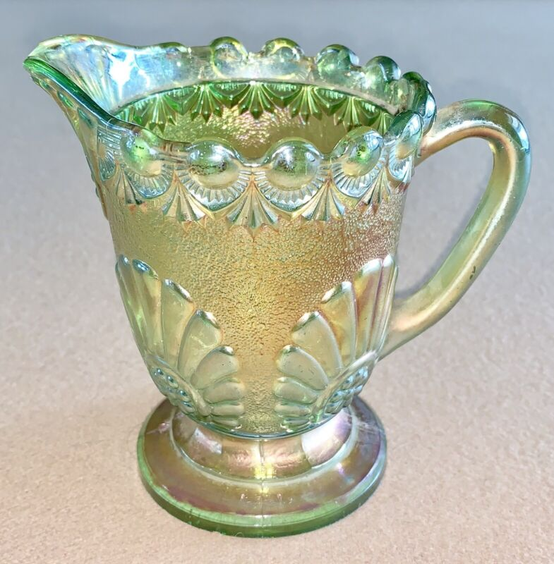 "ANTIQUE EARLY 1900 WESTMORELAND CARNIVAL GLASS "" SHELL AND JEWEL "" CREAMER"