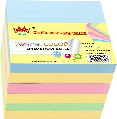 4a Sticky Note Self-stick Note Lined Memo Pad Stationery 6 Pads Total 600 Sheets