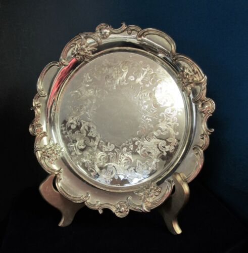 Antique Rimmed Round Tray Scrollwork & Florals Chased Face No Monograms