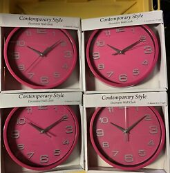 """4x contemporary style decorative wall clock 8"""" (pink)"""