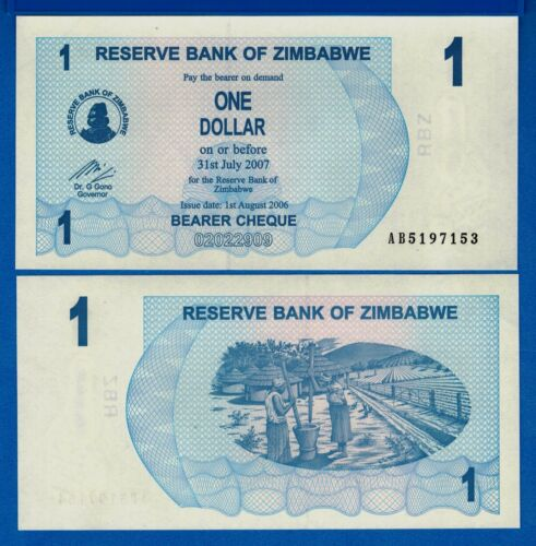 Zimbabwe P-37 One Dollar Year 2006 Uncirculated Banknote Africa