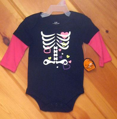 Halloween Infant Girls Faded Glory Bodysuit Long Sleeve Top Skeleton 0 3 6 Month (Halloween Month)