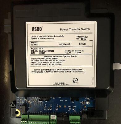 New Asco Power Transfer Switch 1ph 104a 240v 60hz Electronics Only