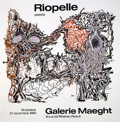 """Jean Paul  Riopelle, """"Riopelle' Pastels,"""" 1980 Galerie Meaght Lithograph Poster"""