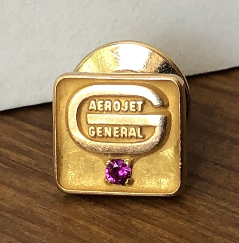 Vintage Aerojet General Apollo  10K Gold Service Tie Tac Pin w/ Ruby