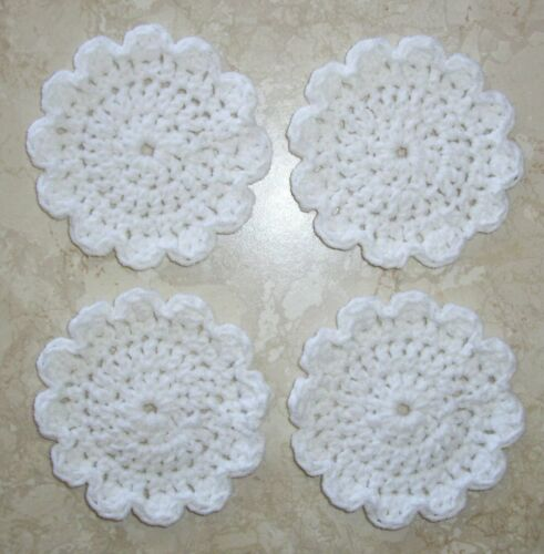SET OF 4 ROUND COASTERS, Crochet, NEW, White, HANDMADE, Free Shipping