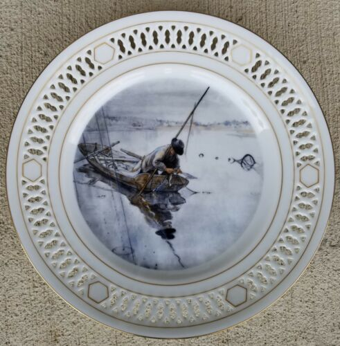 "Bing & Grondahl Denmark 8.5"" Plate 8745 FISHING Carl Larsson Ltd Edition In Box"