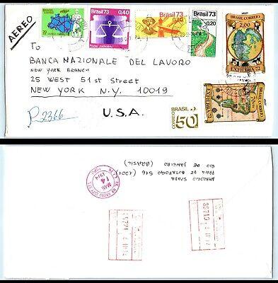 1974 BRAZIL Air Mail Registered Cover - Rio De Janeiro to New York, NY USA D2
