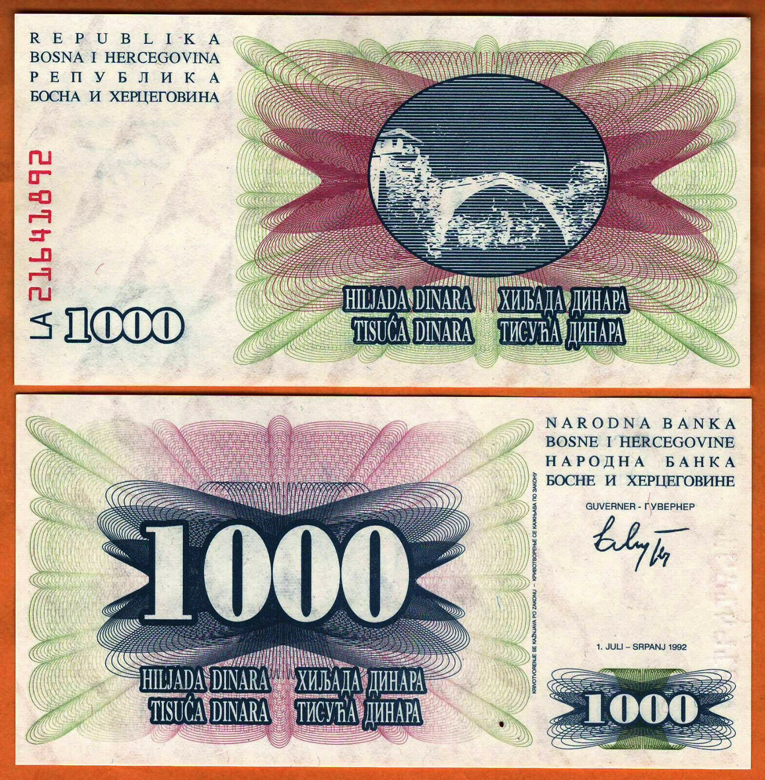 BOSNIA  5 Dinara 1994 UNC  P 40