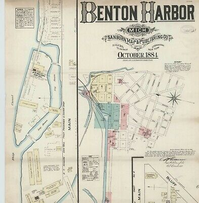 Benton Harbor, Michigan~Sanborn Map©sheets~made in 1884 to 1905~46 maps in color