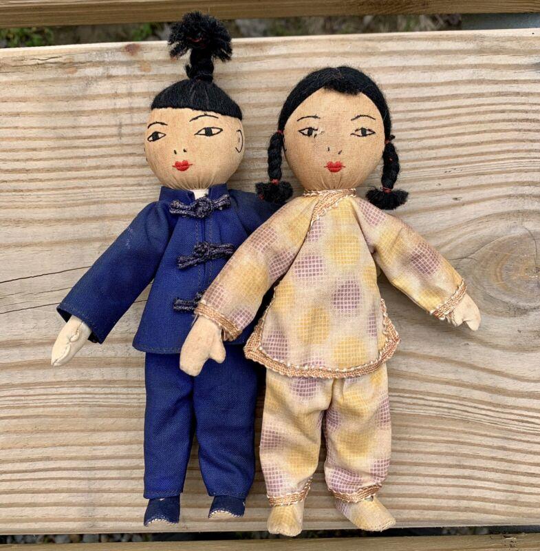 "Vintage Handmade Dolls Hand Sewn Asian Oriental Cloth 7"" High Set Of 2"