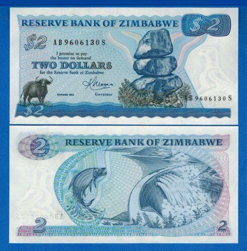 Zimbabwe P-1b 2 Dollars Year 1983 Uncirculated Banknote