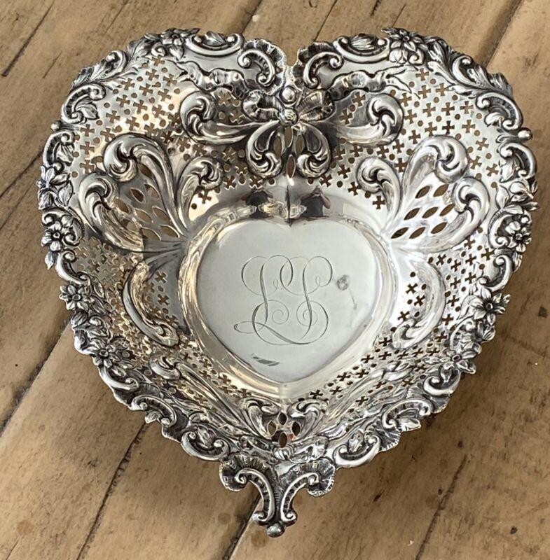 Sterling Silver Gorham Spaulding Chicago Antique Floral Footed Heart Bowl