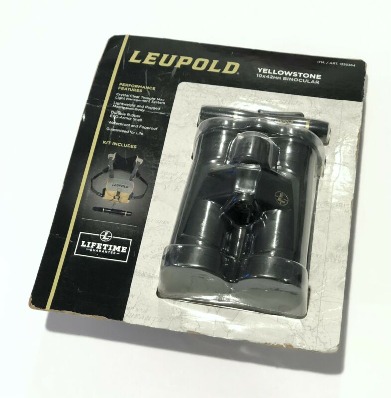 LEUPOLD Yellowstone 10x42mm Binocular Kit - Black - 1336364   **Worn Packaging**