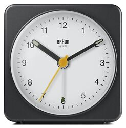 Braun BN-BC03BW Large Black White Square Quartz Alarm Classic Travel Clock