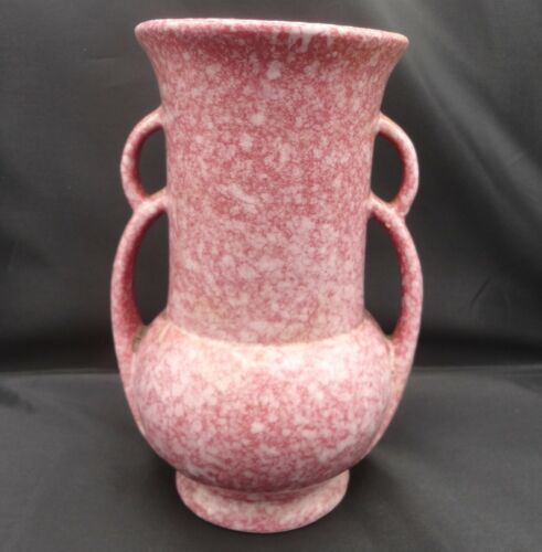vintage Robinson Ranbottom Deco Vase Victorian Red/ Pink Splatter