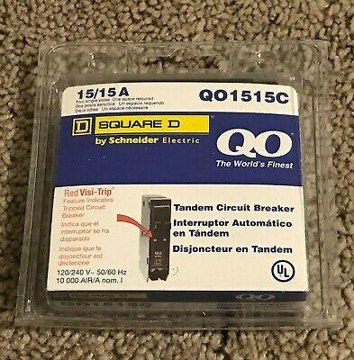 New Square D Circuit Breaker Qo1515c 2p 15a New No Hook