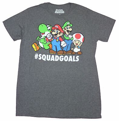 Super Mario Mens T-Shirt- # Squad Goals Character Crew Image