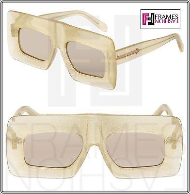 KAREN WALKER Enlightened Yellow Glitter Flash Mirrored Square Sunglasses 1401519