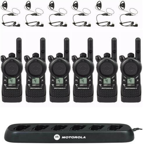 6 Motorola Cls1410 Uhf Two-way Radios With Bank Charger & Hkln4599 Headsets