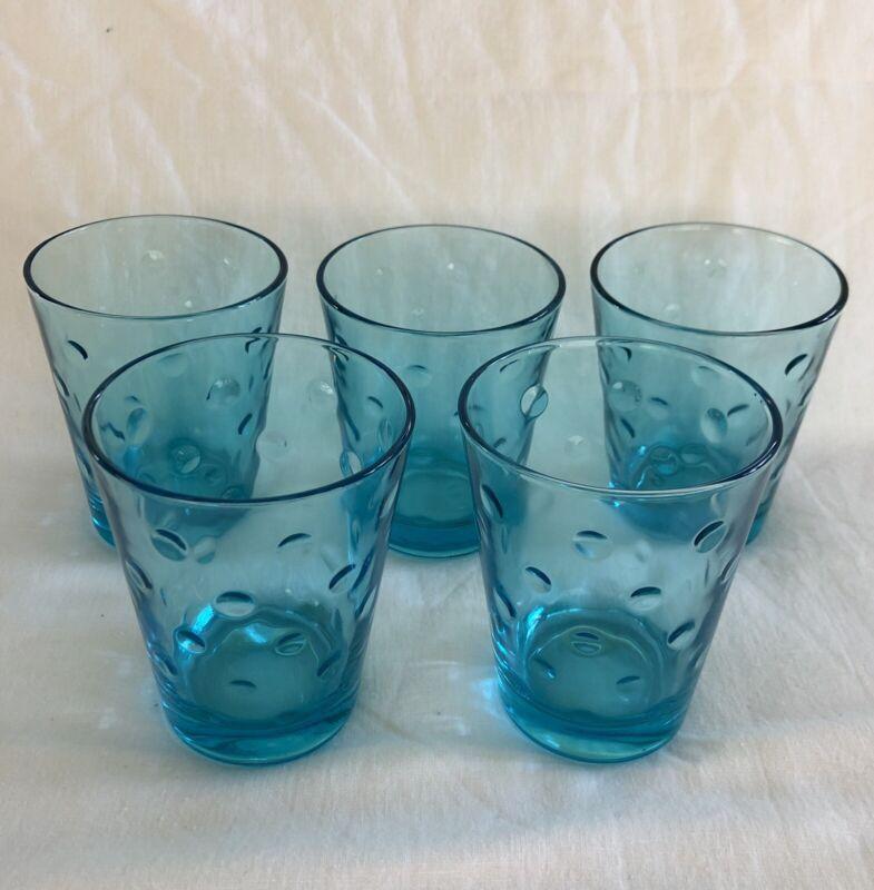 "5 Vintage Hazel Atlas Azure Blue Capri Dots Tumblers 4"" 8 Ounce"