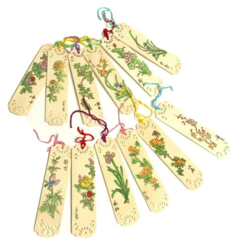 Vintage Chinese Bookmarks Lacy Wood Flowers Fabric Box of 12