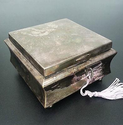 DECKELDOSE Schmuckschatulle Kästchen WMF ART DECO Metall versilbert um 1930