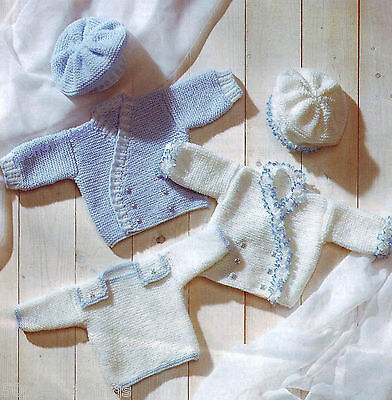 """PREMATURE BABY KNITTING PATTERN 12""""-18"""" TINY BABY OR DOLLS CLOTHES DK"""