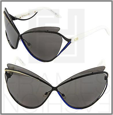 3ed8e00fec CHRISTIAN DIOR AUDACIEUSE 1 Black Gold White Blue Cat Eye Sunglasses 4CHY1  Women