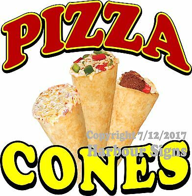Pizza Cones Decal Choose Your Size Food Truck Concession Vinyl Sign Sticker