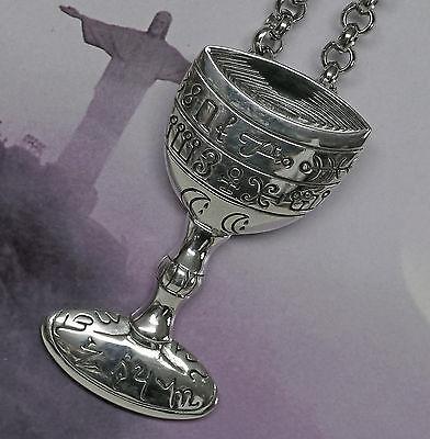 Wicca Kelch Anhänger 925Silber Peter Stone heilige Gral Chalice  Engelsschrift (Heilige Kelch)