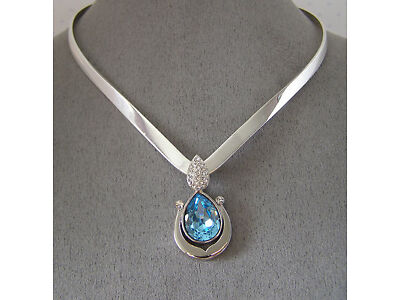 "SWAROVSKI ""BLUE & CLEAR"" CRYSTAL ELEMENTS PENDANT and "" V"" COLLAR NECKLACE"