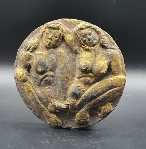 Old Ancient Antique Roman Erotic Arts male female Gold gilding terracotta #A710