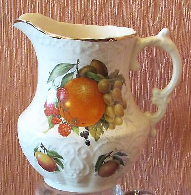 Henry's of Staffordshire Embossed 1.25 Pint Jug with Transfer-printed Fruit.