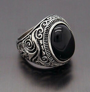 Mens-Large-Natural-Oval-Genuine-Onyx-Gemstone-Stainless-Steel-Ring-US-Size-8-15