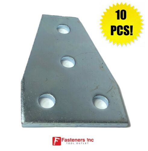(QTY 10) 4-Hole Flat Plate Gusset TEE Fitting for Unistrut Channel #4629 P1358