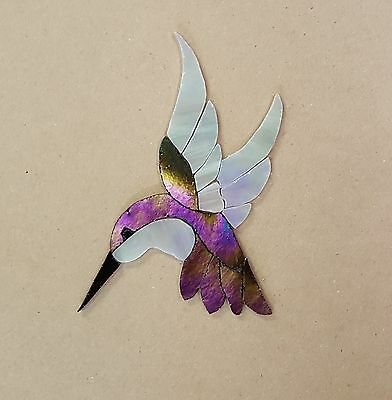 PRECUT STAINED GLASS ART KIT FEMALE HUMMINGBIRD MOSAIC INLAY HANDCRAFTED 4.5x 4""