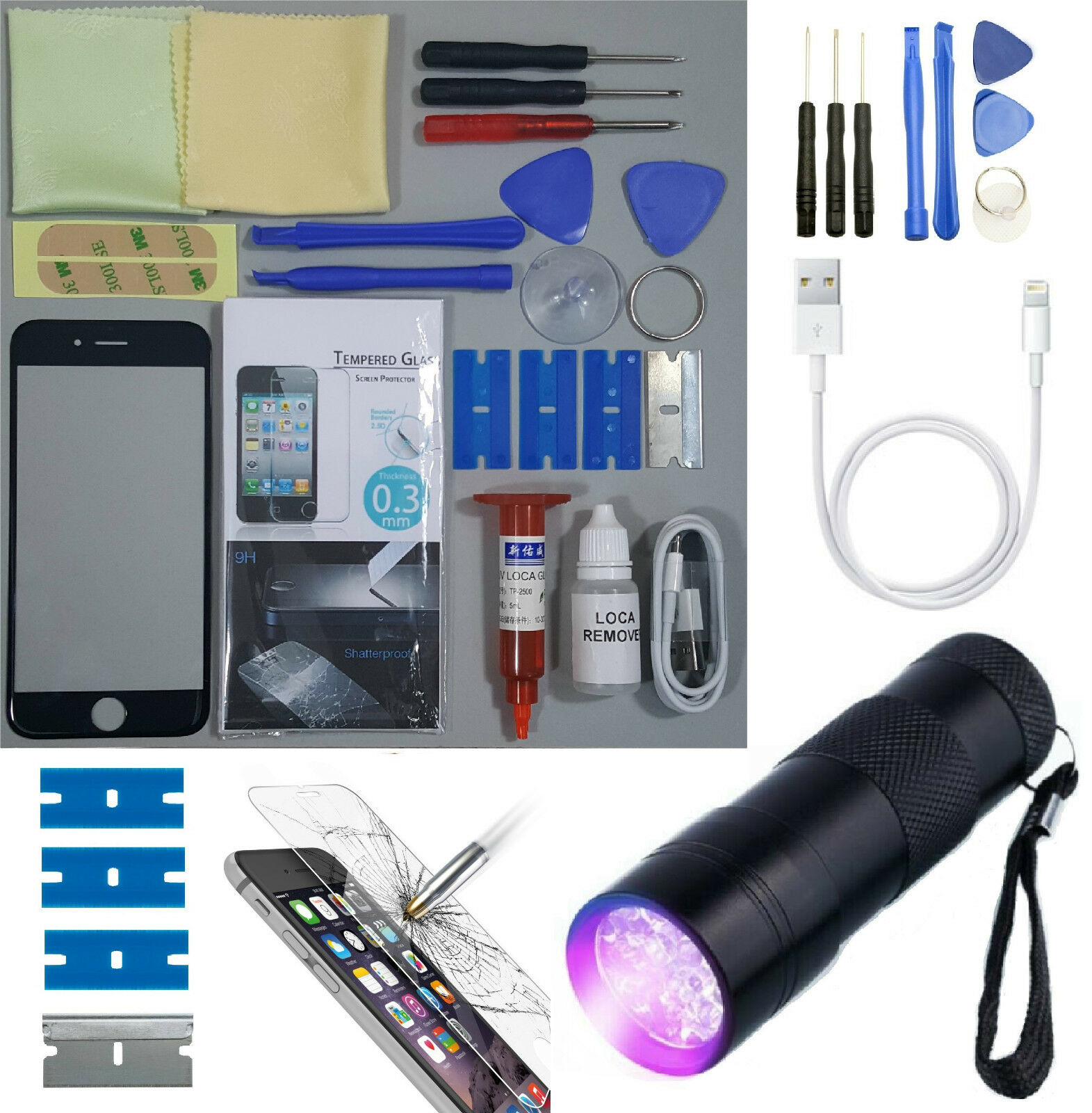 Apple iphone 6 replacement screen front glass repair kit black uv torch ebay - Kit reparation iphone 6 ...