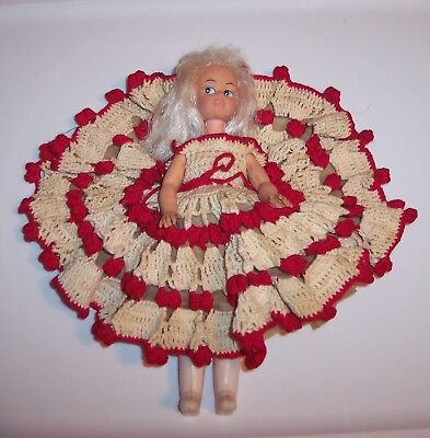 "Vintage Old Estate Sale 9"" Doll White Hair Crocheted Dress Red & White Hong Kong"
