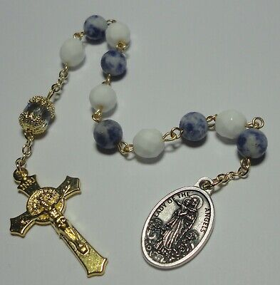 Our Lady Angels - Our Lady, Queen of the Angels Single Decade Rosary w/ genuine Sodalite beads
