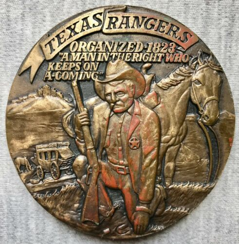 "Texas Rangers - Organized in 1823 - 2 3/4"" Bronze Medal - Oil - The Lucas Gusher"