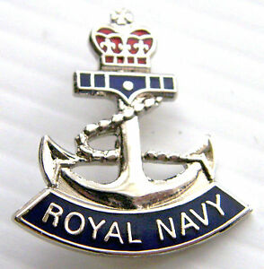 THE ROYAL NAVY ANCHOR NAVAL RN 26MM MILITARY LAPEL PIN BADGE IN FREE GIFT POUCH