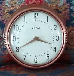 BULOVA  9 WALL CLOCK COPPER RETRO STYLE METAL