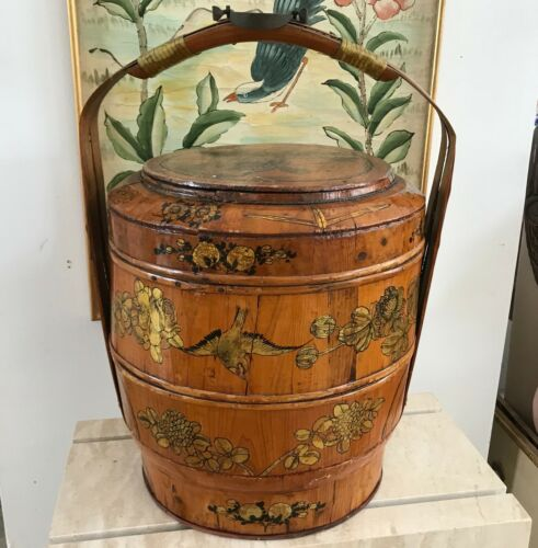 "Antique 21"" Chinese Bamboo and Wood 1858 Wedding Basket with Chinese Lady"