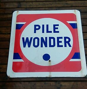 ancienne grande plaque emaill e pile wonder loft usine vintage garage ebay. Black Bedroom Furniture Sets. Home Design Ideas