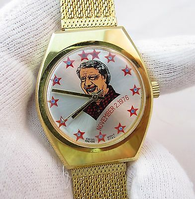 Jimmy Carter  Election Day  11 2 76 Manual Wind Rare  Mens Character Watch 570